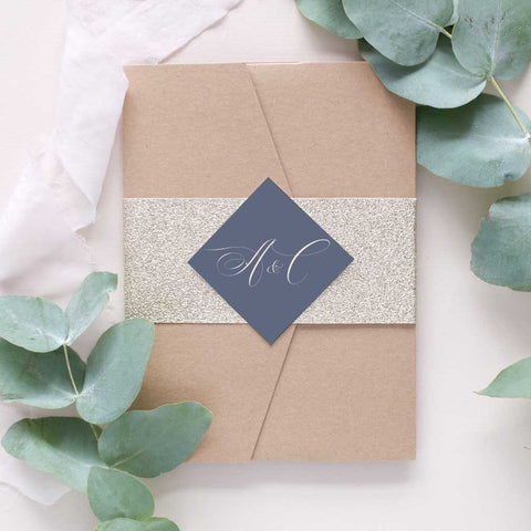 grey and gold wedding invitation package