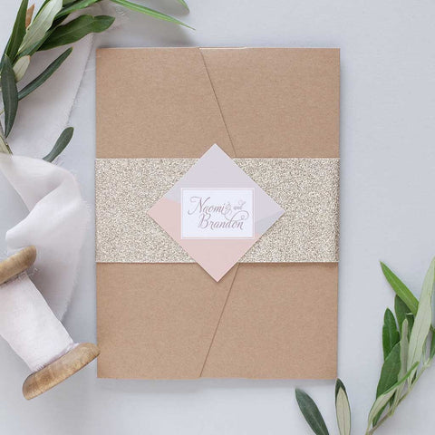 GOLD GLITTER WEDDING INVITATION PACKAGE