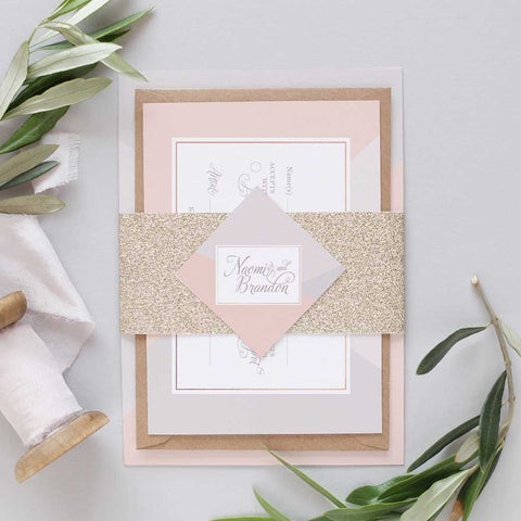 'Geometric Pink' Debut Wedding Invitation Package