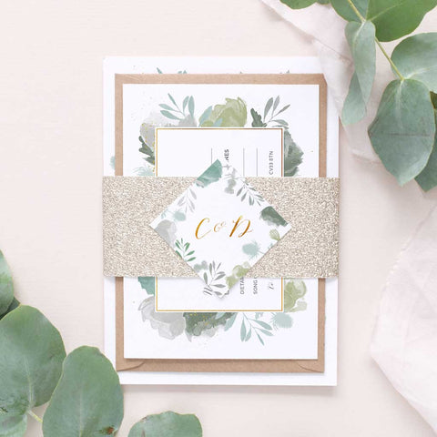 greenery foliage wedding invitation package