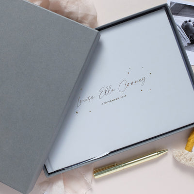 Personalised - Grey and Gold Foil Luxury Baby Memory Book with Stars*