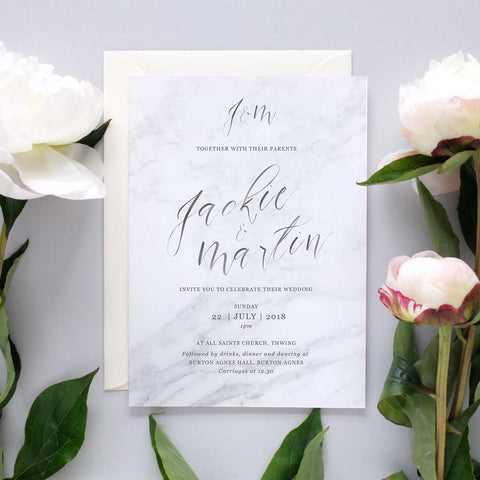 luxury marble and pink invite