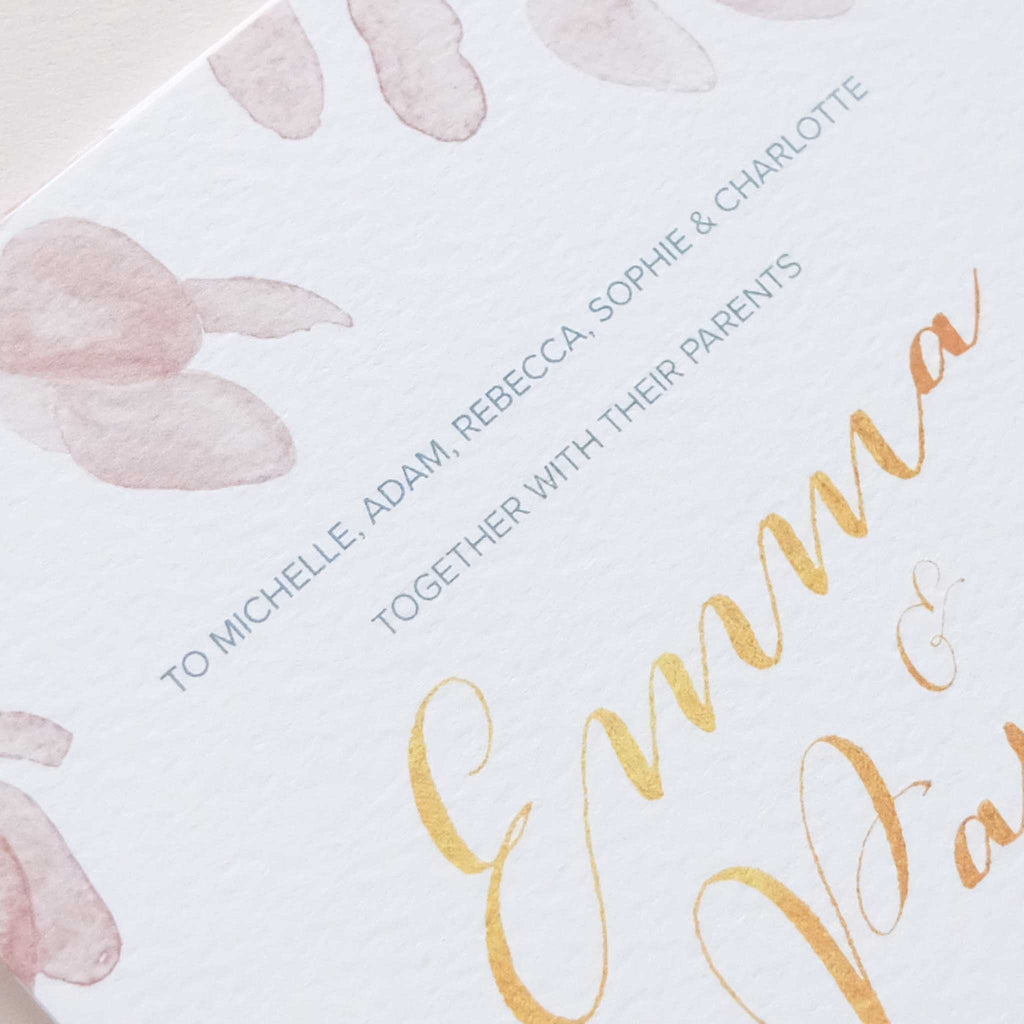 Extra - Guest names printed on invitations – Blush and Gold