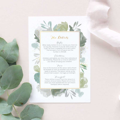green leaves rustic information card for weddings