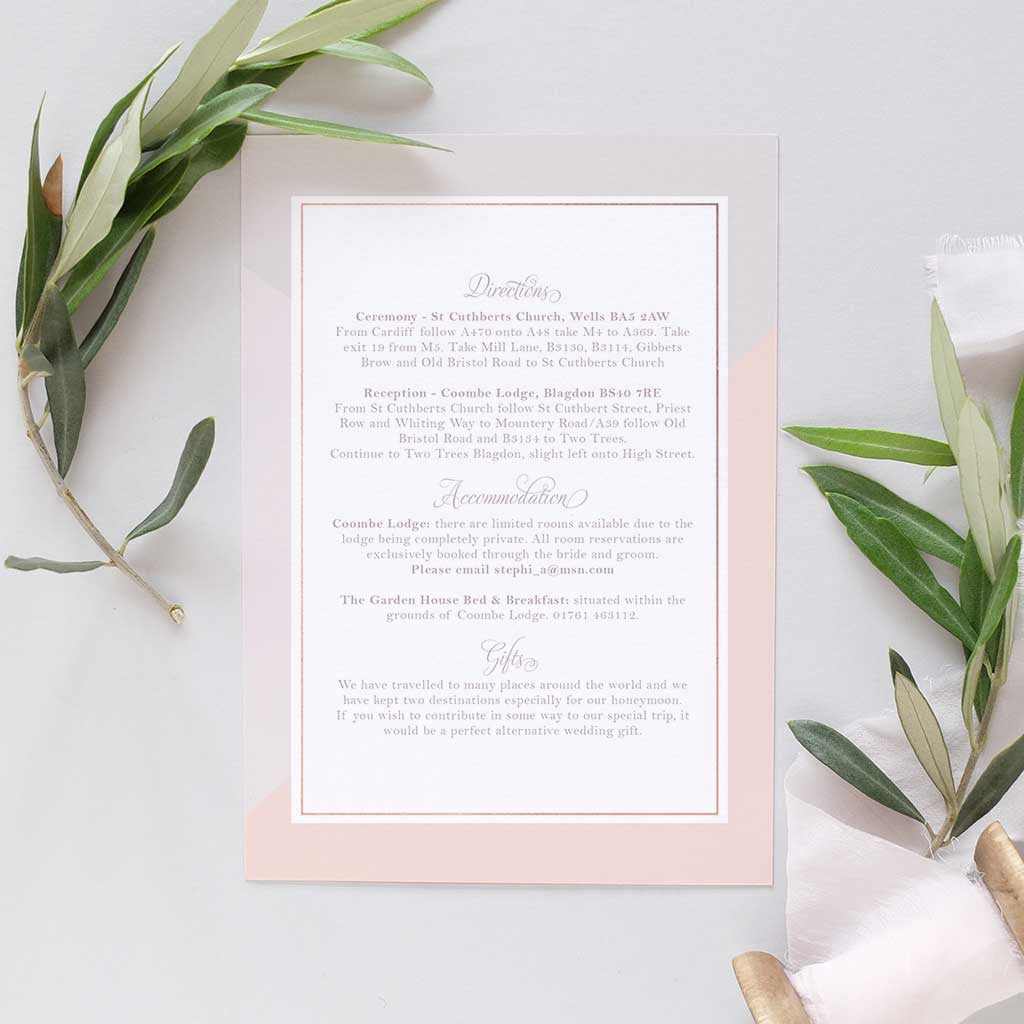 Dove grey and blush wedding invitation package with pocketfold and ...