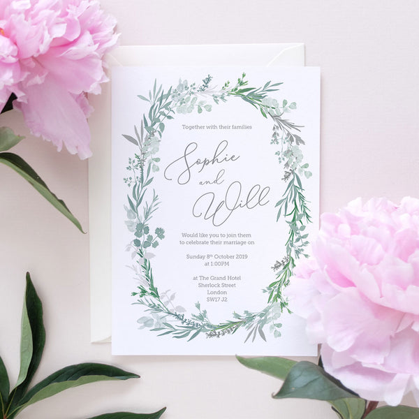 elegant botanical wedding invite