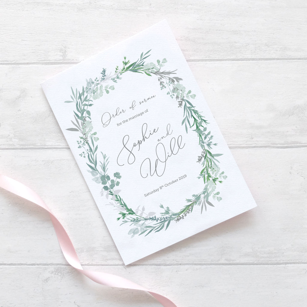 Herbs Wreath Wedding Order of Service – Blush and Gold