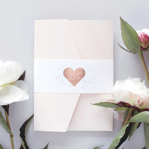 'Rose Gold Heart' Jewel Wedding Invitation Package