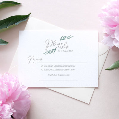 leafy wedding rsvp card