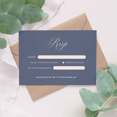 grey calligraphy wedding RSVP card