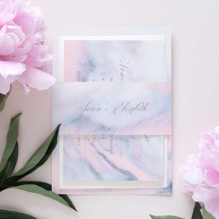 modern marble wedding invitation package