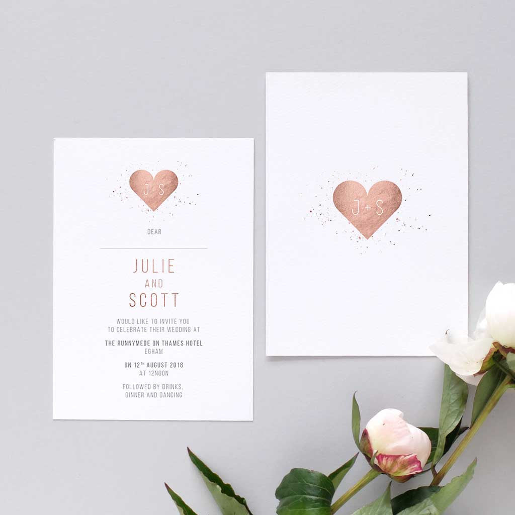 Heart Images For Wedding Invitations: Romantic Rose Gold Heart Wedding Invitation