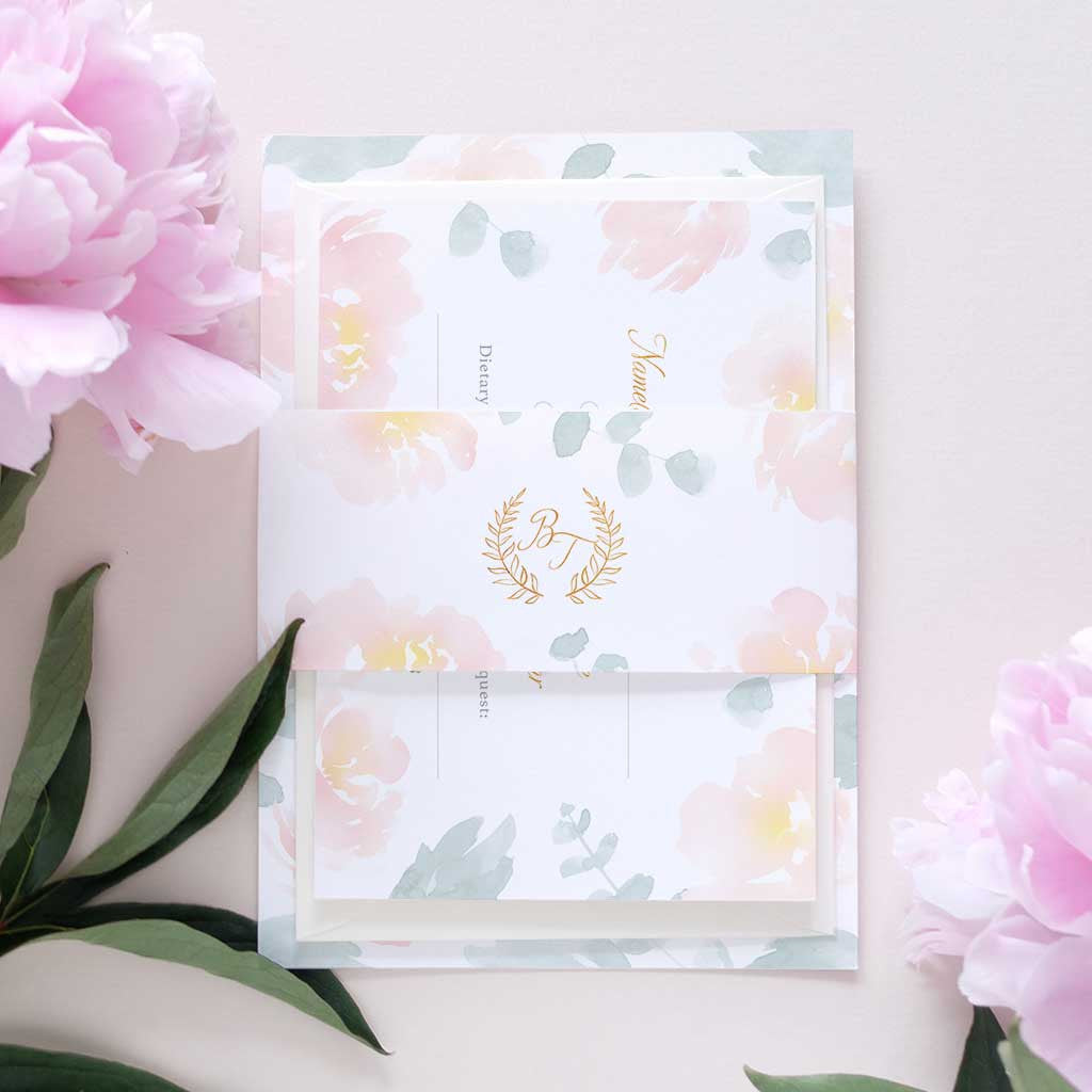 Blush Peonies and Eucalyptus Wedding Invitation Package – Blush and Gold