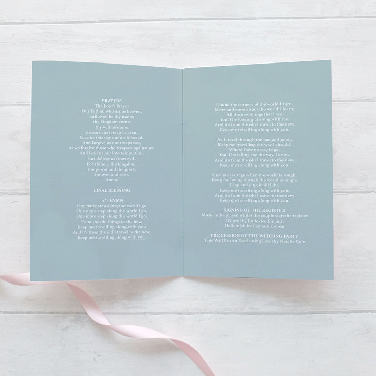 dusty blue wedding order of service booklet