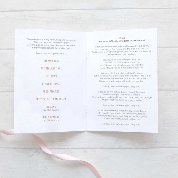 'Rose Gold Heart' Wedding Order of Service