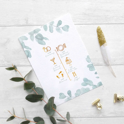 'Eucalyptus' Order Of The Day Card (with drawings)