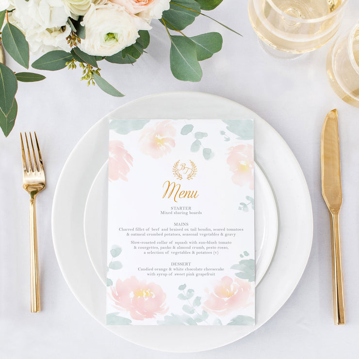 eucalyptus and peonies menu card