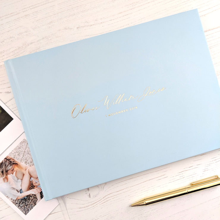 Personalised - Blue and Gold Foil Luxury Baby Memory Book