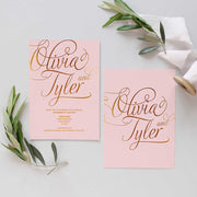 blush and gold invite