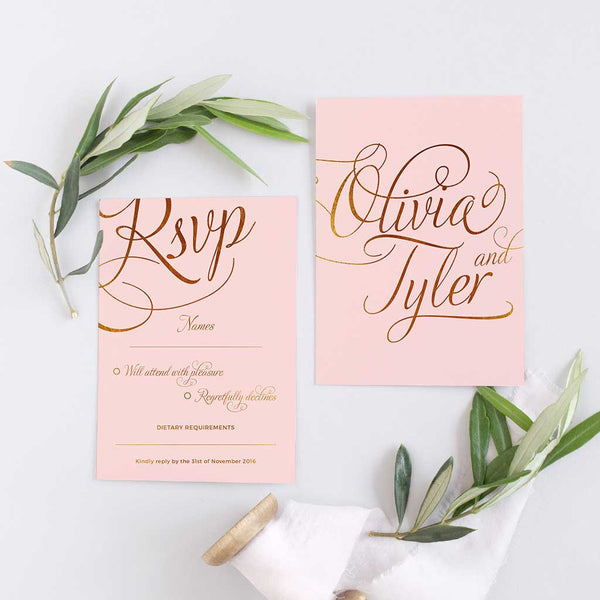 blush and gold RSVP card