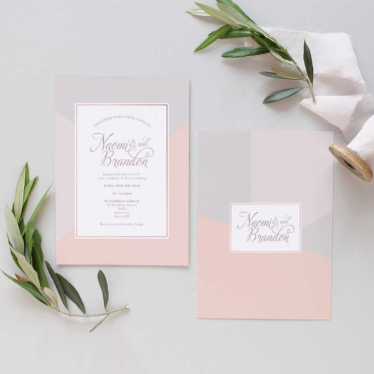 elegant pink and grey wedding invite