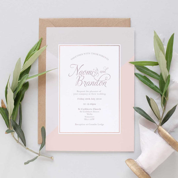 pink and grey wedding invite