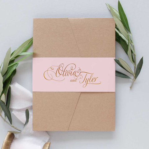 blush and grey wedding invitation package