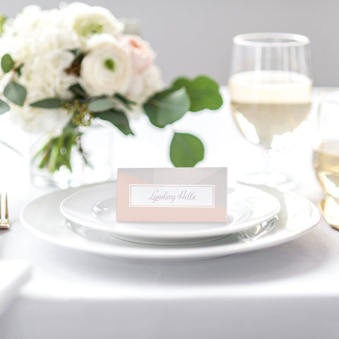 pink and grey place card for weddings