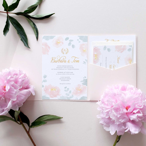 blush pink wedding invitation set