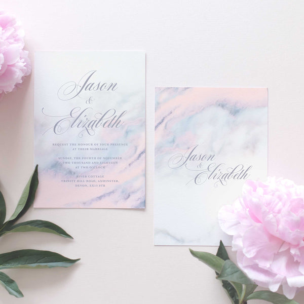 pink marble wedding invitation package