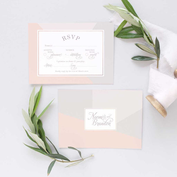 blush and grey wedding invitation set
