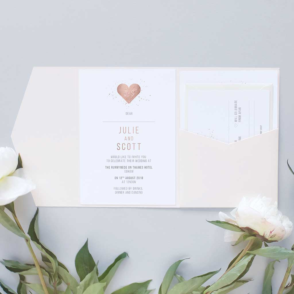Rose gold wedding invitation package with pocketfold – Blush and Gold