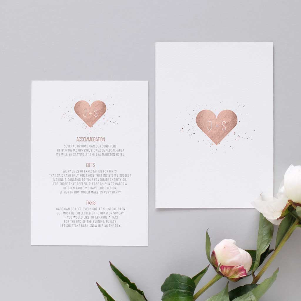 Rose gold Heart Wedding Information Card – Blush and Gold