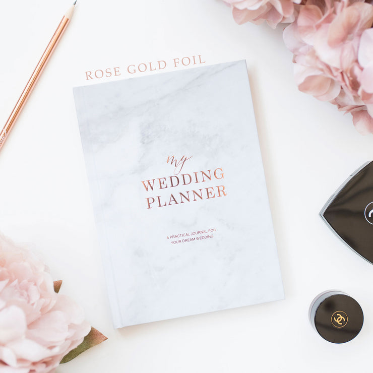 Marble With Rose Gold Foil Luxury Wedding planner book