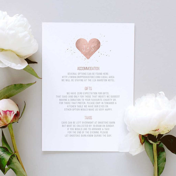 minimalist wedding information card wording