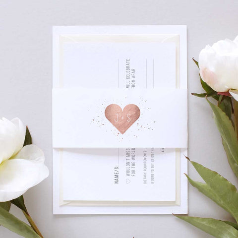 Rose gold wedding invitation set