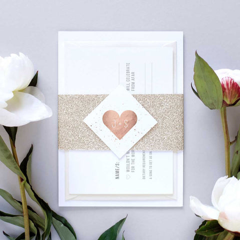 ROSE GOLD WEDDING INVITATION PACKAGE