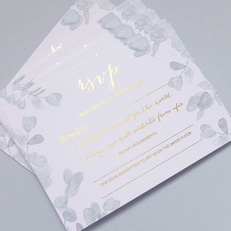 Eucalyptus RSVP Cards - The Luxe Collection Foil