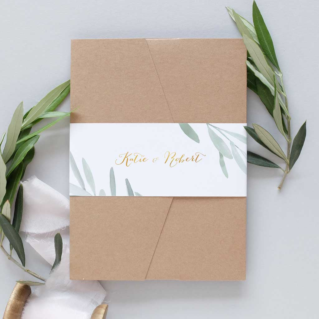 olive brunches pocketfold wedding invitation
