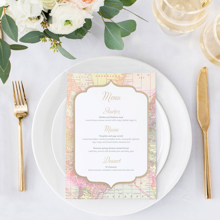 rustic menu card for weddings