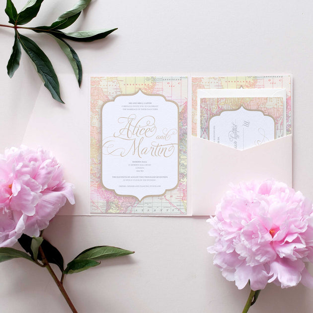 Invitation Packages Wedding: Travel Themed Wedding Invitation Package With Pocketfold