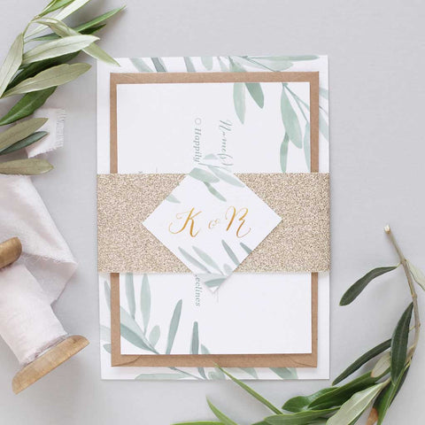 botanical and gold wedding invitation