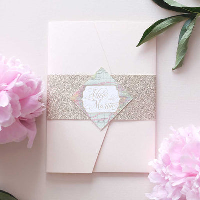 rustic wedding invitation package with gold glitter bellyband