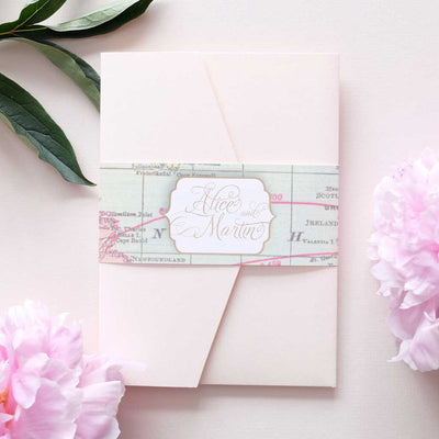 craft brown pocketfold wedding invitation
