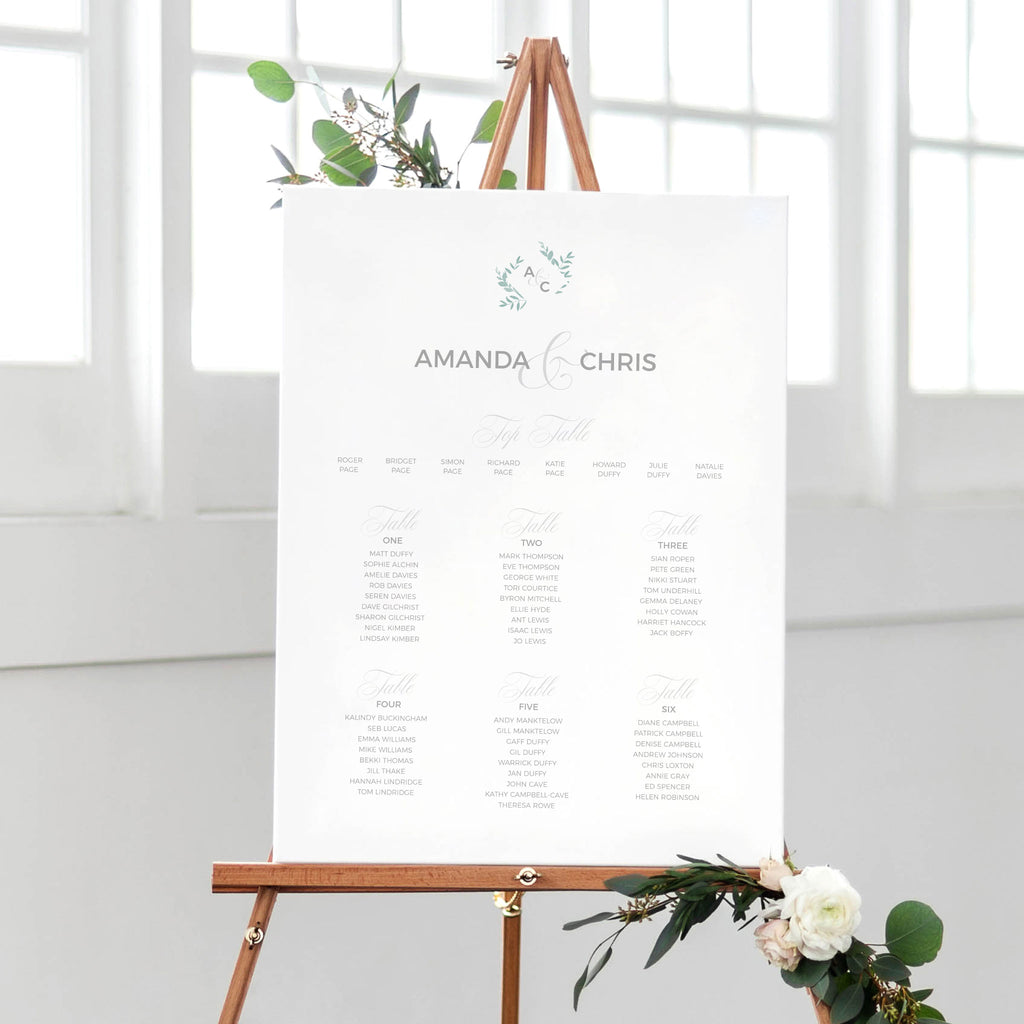 sage green and grey table seating plan for weddings