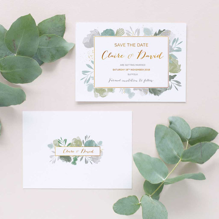 gold and green wedding invite