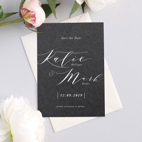 grey calligraphy save the date