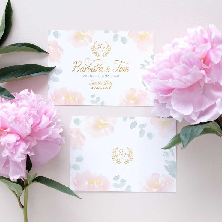 blush peonies wedding invitation