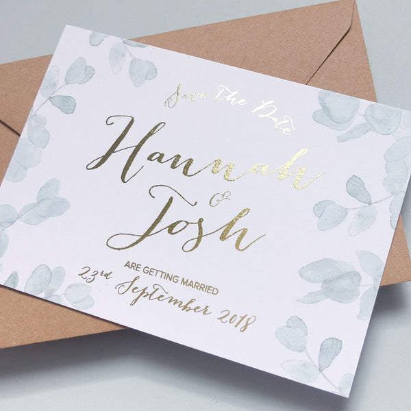 gold foil save the date green leaves