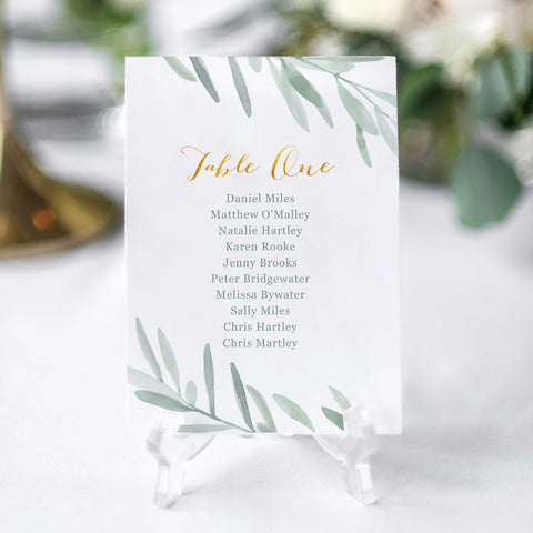 'Olive' Seating Chart Cards